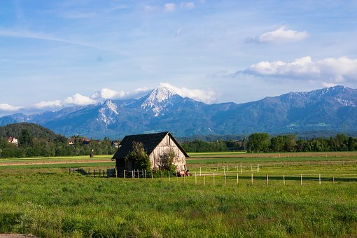 Austria, Mountains, Sky, House, Barn, Scale, Landscape