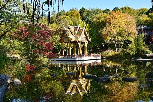 Pagoda, Nepali, Westpark, Munich, Park, Atmospheric
