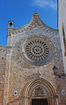Puglia, Ostuni, Rose Window, Facade, Romanesque Style