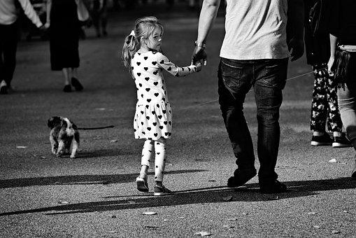 Child, Little Girl, Father, Parent, Daughter, Walking