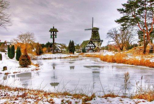 Pond, Mills, Landscape, Nature, Architecture, Sky