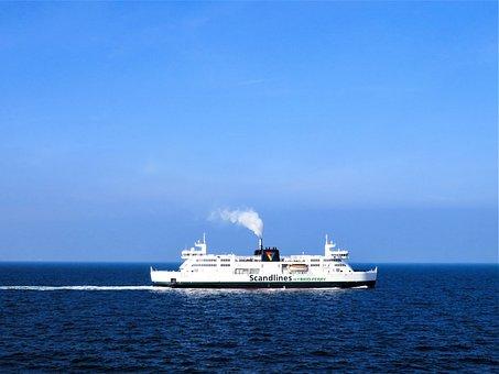 Sea, Ship, Ferry, Baltic Sea, Ferry Service, Germany