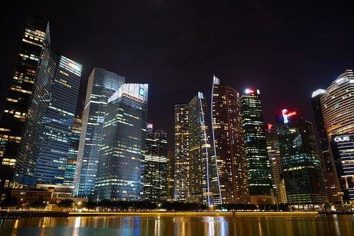 Singapore, Skyscraper, Night, City, Architecture