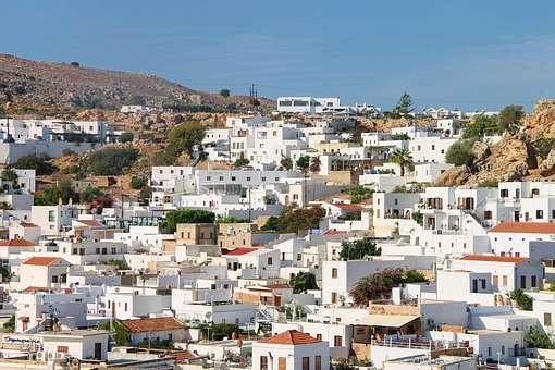 Houses, White, Whitewashed, City, Greece, Rhodes