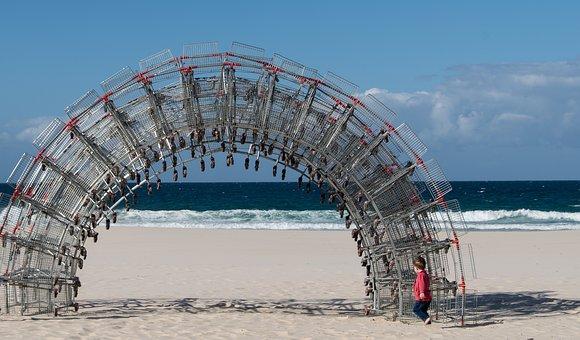 Arch, Sculpture, Shopping Trolleys, Carts, Art, Metal