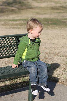 Stoic, Kid, Bench, Toddler, Alone