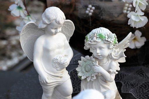 Angels, Boy, Girl, Wings, Spiritual, Statue, Cemetery