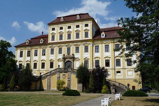 Castle, Red Castle, Sky, Building, Jirkov