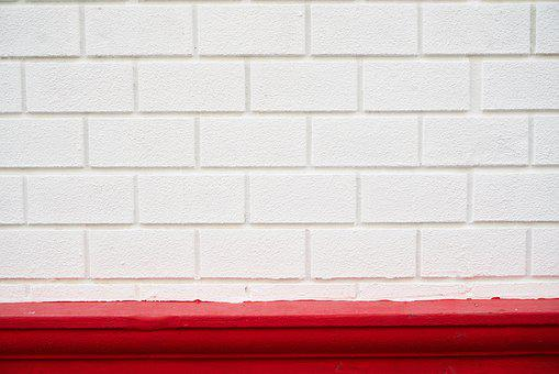 White, Red, Brick, Wall, Texture, Pattern, Cement