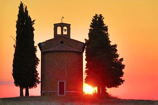 Sunset, Sun, Church, Sky, Nature, Landscape, Sunrise