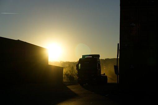 Container, Truck, Fog, Dark, Gloomy, Sunrise