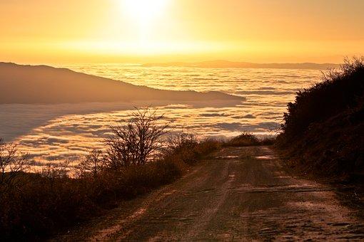 Fog, Sunset, Sky, Nature, Landscape, Atmosphere