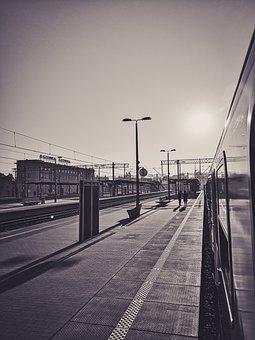 Sunrise, Railway Station, Train, Peron, Good Luck