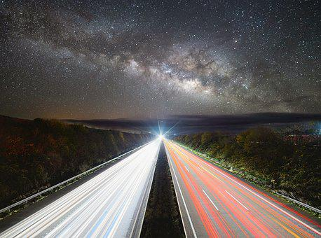 Highway, Star, Night, Sky, Road, Dark, Auto