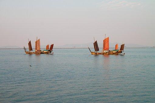 China, Taihu Lake, Huzhou, Lake, Sunset, Sail