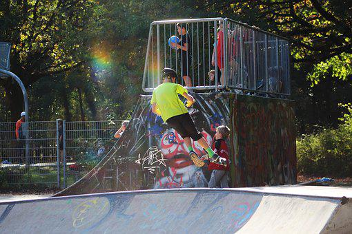Skate Park, Inline Skates, Youth, Children, Fun, Tricks