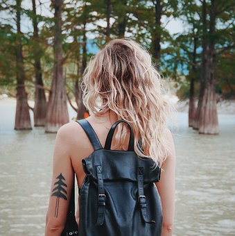 Girl, Backpack, Spin, Hair, Sea, Woman, Landscape, Man