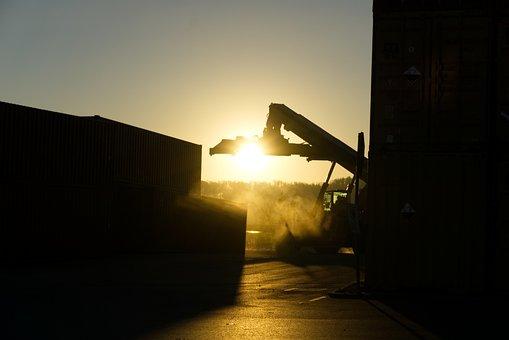 Container, Loading Crane, Fog, Dark, Gloomy, Sunrise