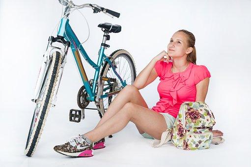 Girl, Woman, Sports, Bike, Youth, Teen, Ride, Man