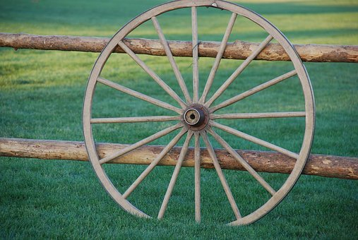 Wagon, Wheel, Old Antique, Wood, Post, Nostalgia