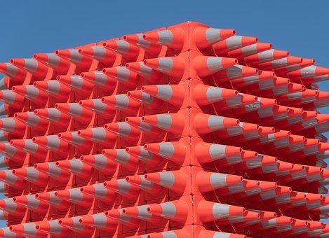 Sculpture, Art, Traffic Cones, Plastic, Orange, White