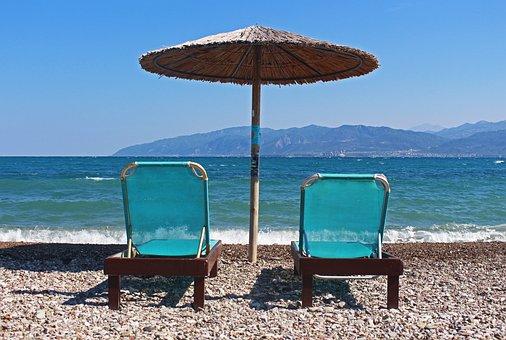 Vacations, Summer, Sun, Beach, Greece, Sun Bed, Parasol