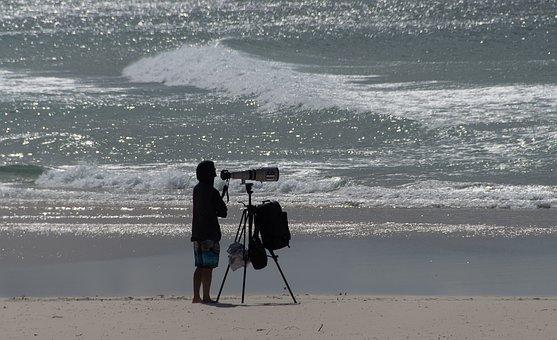 Beach, Sea, Photographer, Camera, Lens, Surf, Water