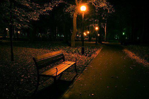 Night, Park, Bench, Lantern, Dark, Quiet