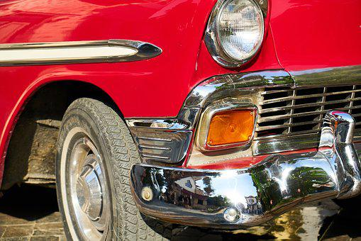 Car, Classic, Red, Old, Metal, Transport, Retro