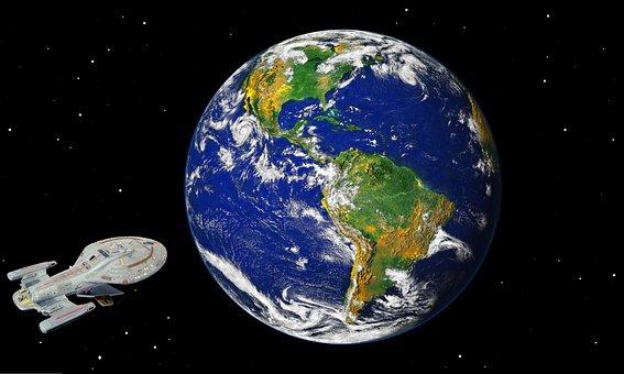 Science, Fiction, Earth, Space, Ship, Star Trek, Globe