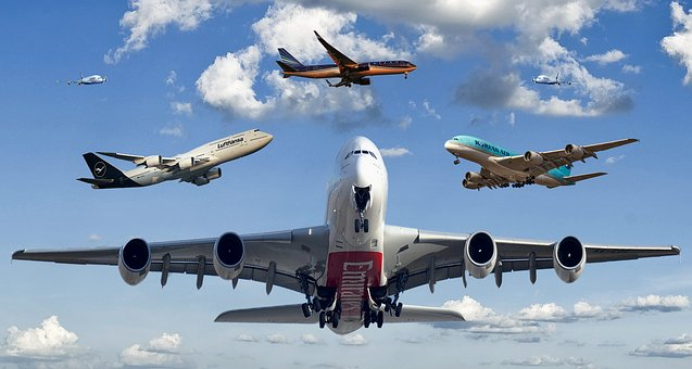 Aircraft, Air Traffic, Aviation, Sky, Clouds