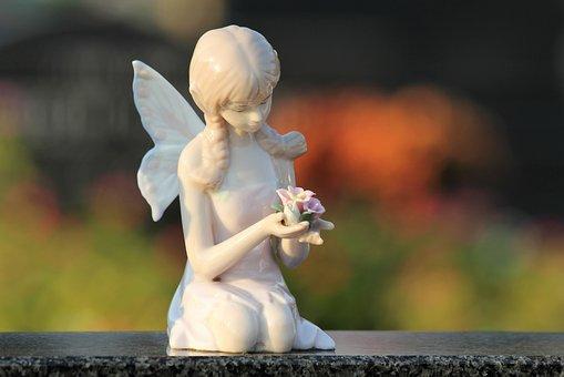 Angel With Roses, Girl, Wings, Spiritual, Figure