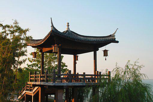 China, Taihu Lake, Wood Pavilion, Huzhou, Stone, Willow
