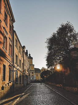 Poznan, Street, Sunset