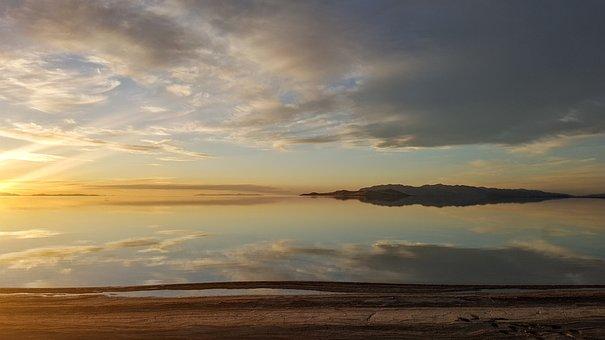 Sun Rays, Dawn, Dusk, Lake, Clouds, Antelope Island