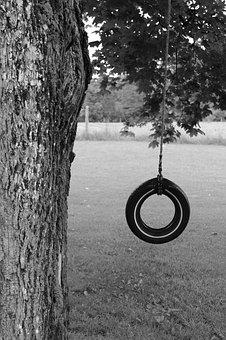 Tire, Tire Swing, Swing, Tree, Pasture, Childhood