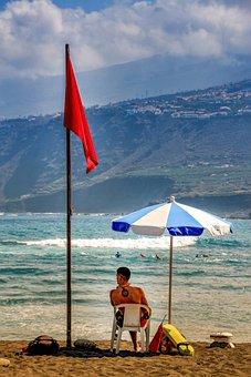 Beach, Watch, Parasol, Lifeguard, Swimming Champion