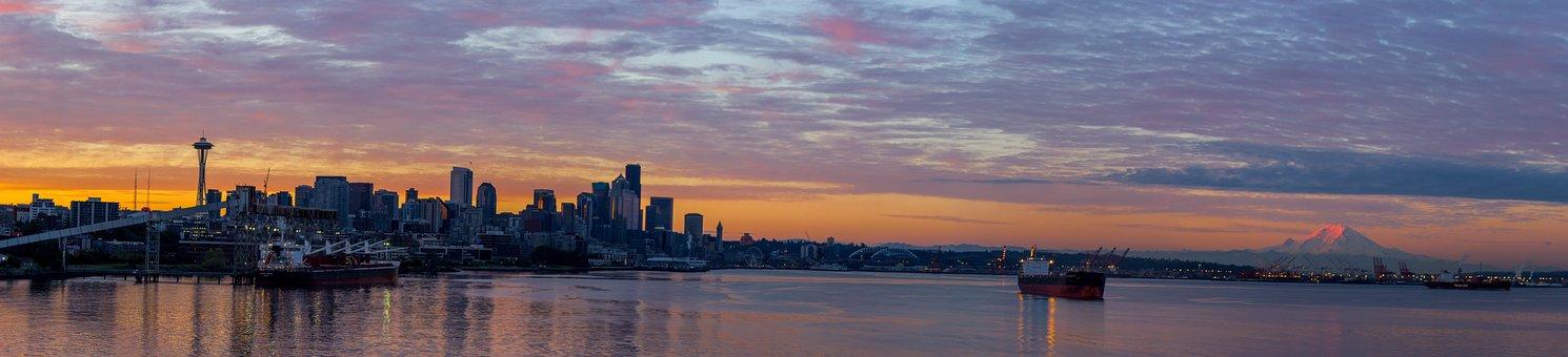 Seattle, Mountain, Boat, Sky, Water, Scenic, Sunset