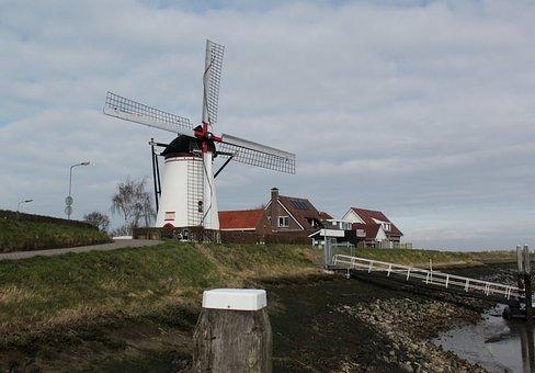 Windmill, Stavenisse, Mill, Zealand, Holland, Wind Mill