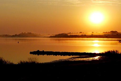 Sunrise, Bodden, Mood, Atmosphere, Landscape, Water
