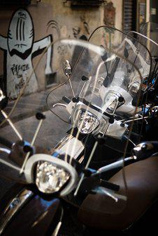 Motorbike, Scooter, Vespa, City Street, Graphitti