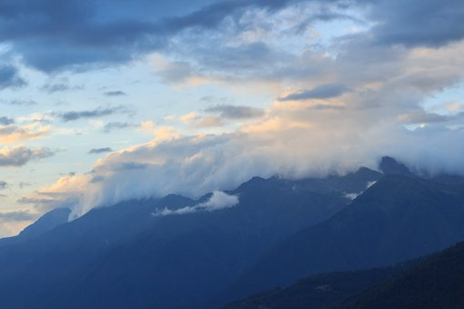 Mountains, Slopes, Clouds, Fog, Sunset, Sochi, Red
