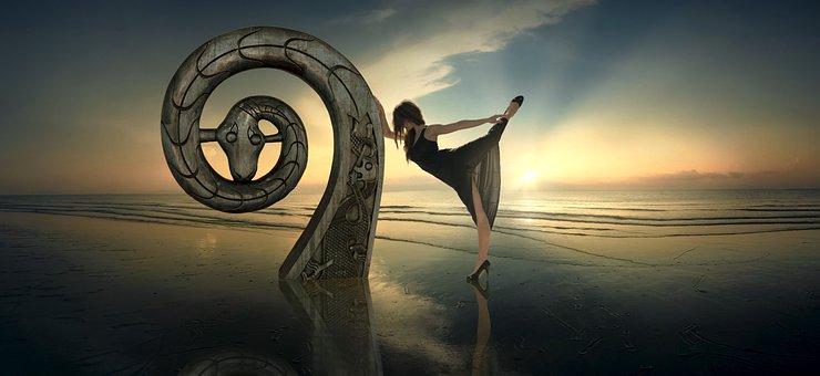 Fantasy, Backlighting, Dance, Sea, Woman, Beach, Sun
