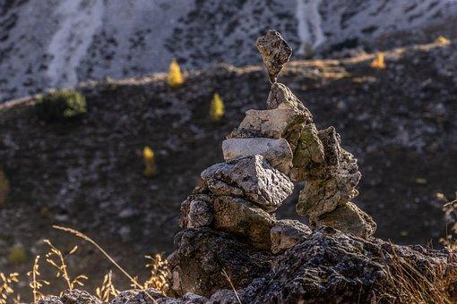 Stones, Dolomites, Bridge, Castle, Larch, Trees, Sassi