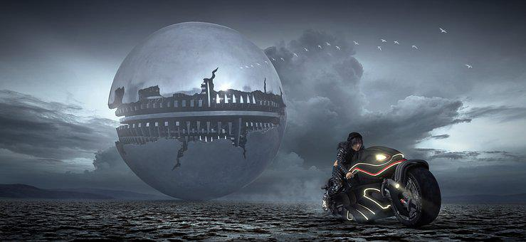 Fantasy, Science Fiction, Motorcycle, Spaceship, Ball