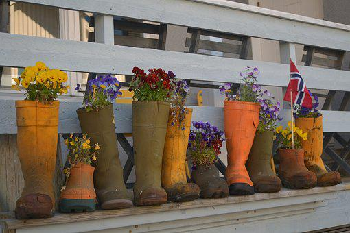 Norway, Decor, Flowers, Colors, Boots