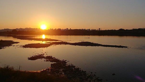 Sunset, Sea, River, Alloy Steel, Golden, Glow