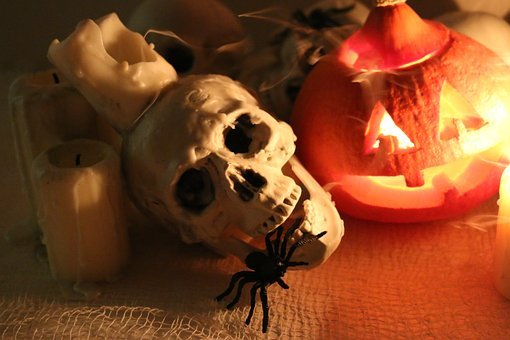 Skull, Spider, Pumpkin, Candle, Smoke, Halloween
