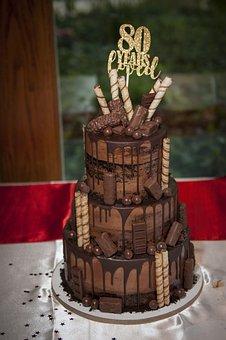 Happy Birthday, Cake, Celebration, Chocolate, Party, 80