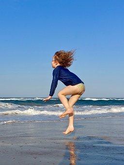 Jump, Child, Beach, Hop, Joy, Fun, Girl, Happy